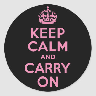 Pink and Black Keep Calm And Carry On Round Sticker