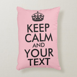 Pink and Black Keep Calm and Your Text Decorative Cushion