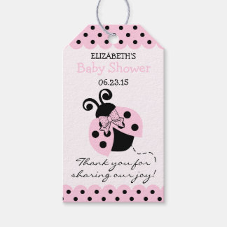 Pink and Black Ladybug Baby Shower Guest Favor Gift Tags
