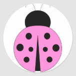 Pink and Black Ladybug Classic Round Sticker