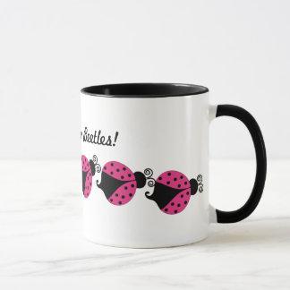 Pink and Black Ladybug Coffee Mug