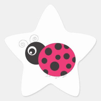 Pink and Black Ladybug Faded Star Sticker