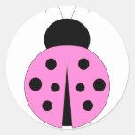 Pink and Black Ladybug Round Sticker