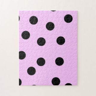 Pink And Black Large Polka Dots Jigsaw Puzzle