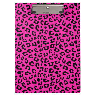 Pink and Black Leopard Print Clipboard