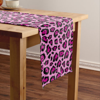 Pink and Black Leopard Print Short Table Runner