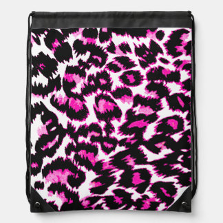 Pink and Black Leopard Spots Drawstring Bag
