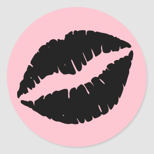 Pink and Black Lips Stickers