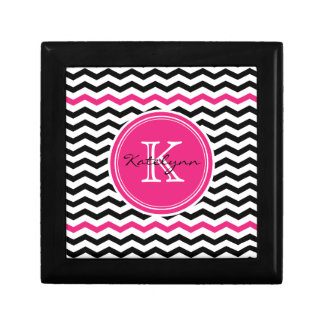 Pink and Black Modern Chevron Custom Monogram Gift Box