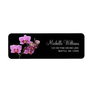 Pink and Black Orchid Return Address Label