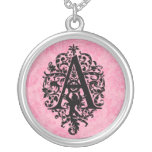 Pink and Black Ornate Inititial A Round Pendant Necklace