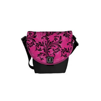 Pink and Black Ornate Scrolls Mini Messenger Bag