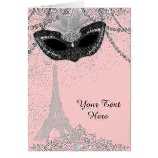 Pink and Black Paris Masquerade Party Card
