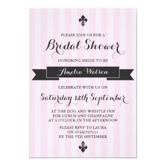 Pink and black Parisian bridal shower invitation
