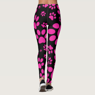 Pink and Black Paw-Prints Leggings