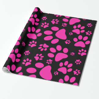 Pink and Black Paw Prints Wrapping Paper