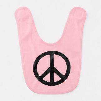 Pink and Black Peace Symbol Bibs