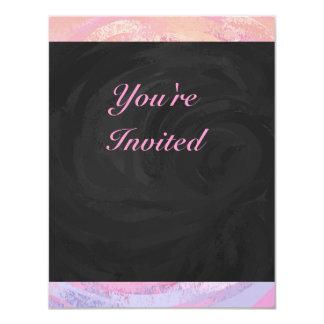 Pink and Black Personalizd 11 Cm X 14 Cm Invitation Card