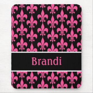 Pink and Black Personalized Fleur de Lis Mousepad