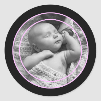 Pink and Black Photo Frame Classic Round Sticker