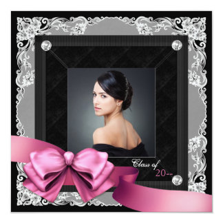 Pink and Black Photo Graduation Announcements