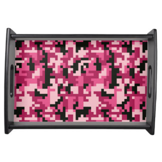 Pink and Black Pixel Camo pattern Serving Tray