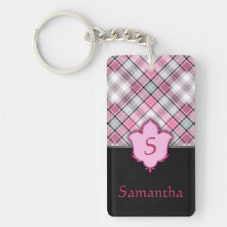 Pink and Black Plaid with Floral Element Double-Sided Rectangular Acrylic Key Ring