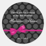 Pink and Black Polka Dot Bow Bat Mitzvah Favour Round Sticker