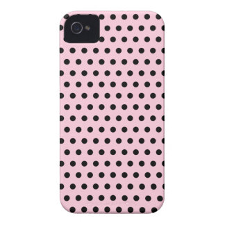Pink and Black Polka Dot Pattern. Spotty. iPhone 4 Covers
