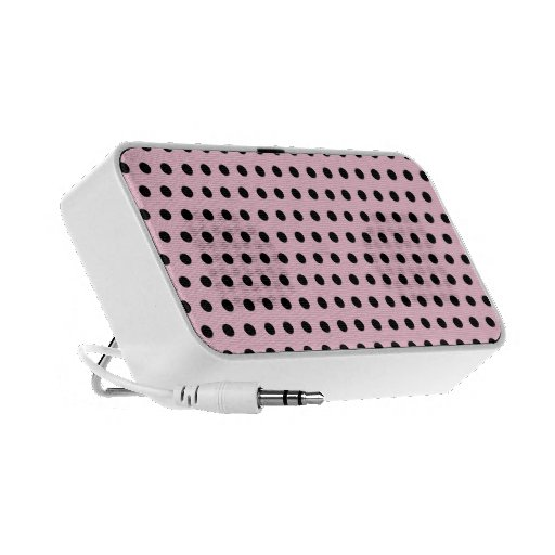 Pink and Black Polka Dot Pattern. Spotty. iPhone Speaker