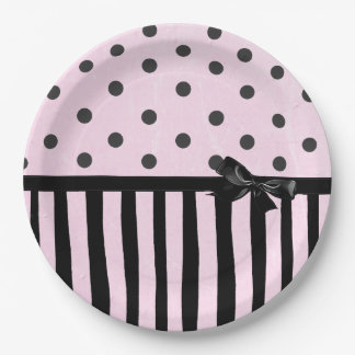Pink and Black Polka Dot Striped Party Paper Plate