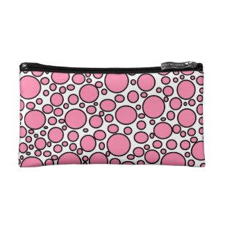 Pink and Black Polka Dots Cosmetic Bag
