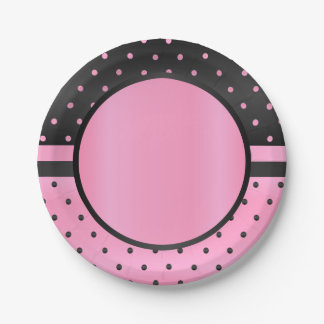 Pink and Black Polka Dots Paper Plate