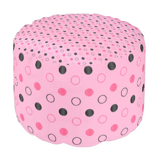 Pink and Black Polka Dots Pouf