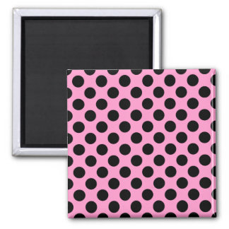 Pink and Black Polka Dots Square Magnet