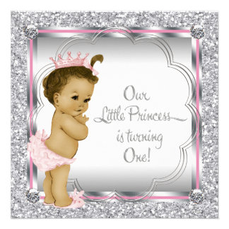 Pink and Black Princess 1st Birthday Party Custom Announcements