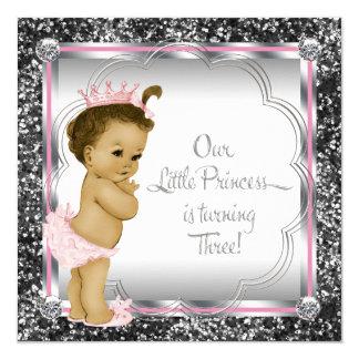 Pink and Black Princess 3rd Birthday Party Invitation