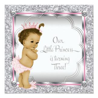 Pink and Black Princess 3rd Birthday Party Custom Invites