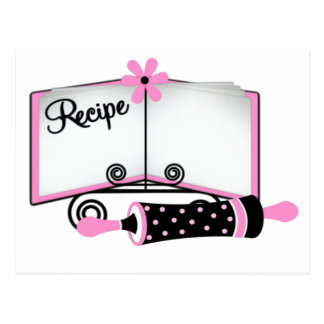 Pink and Black Recipe Card