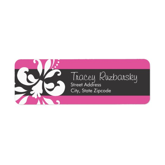 Pink and Black  Return Address Label