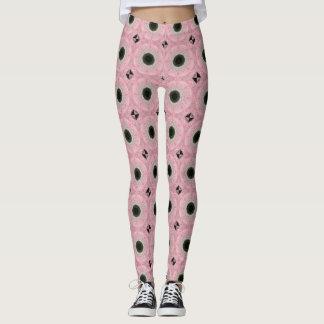 Pink and Black  Roses Leggings