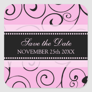 Pink and Black Save the Date Envelope Seal Stickers