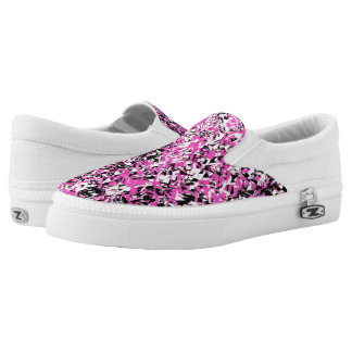 Pink and Black Shattered Glass Slip-On Shoes
