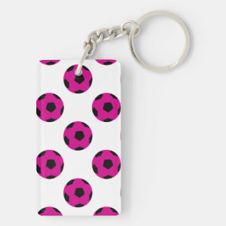 Pink and Black Soccer Ball Pattern Key Ring