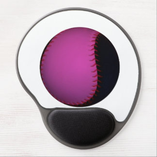 Pink and Black Softball Gel Mouse Pad