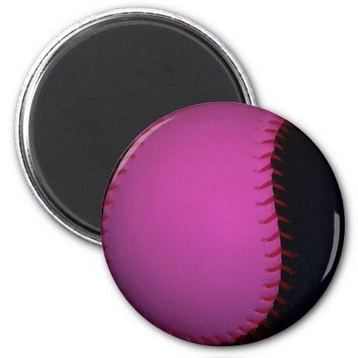 Pink and Black Softball Fridge Magnets