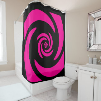 Pink and Black Spiral Design Shower Curtain