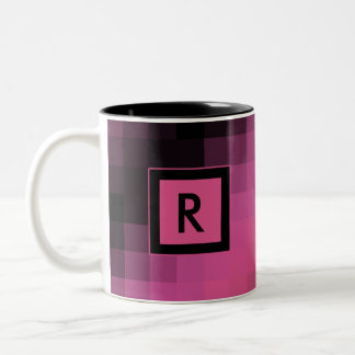 Pink and Black Square Pattern Cup