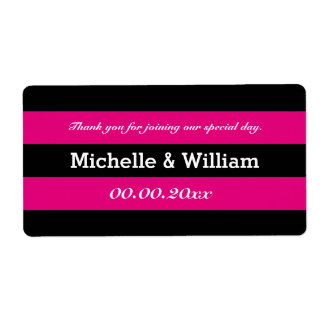 Pink and black stripe wedding water bottle labels