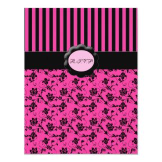 Pink and Black Striped RSVP Card 11 Cm X 14 Cm Invitation Card